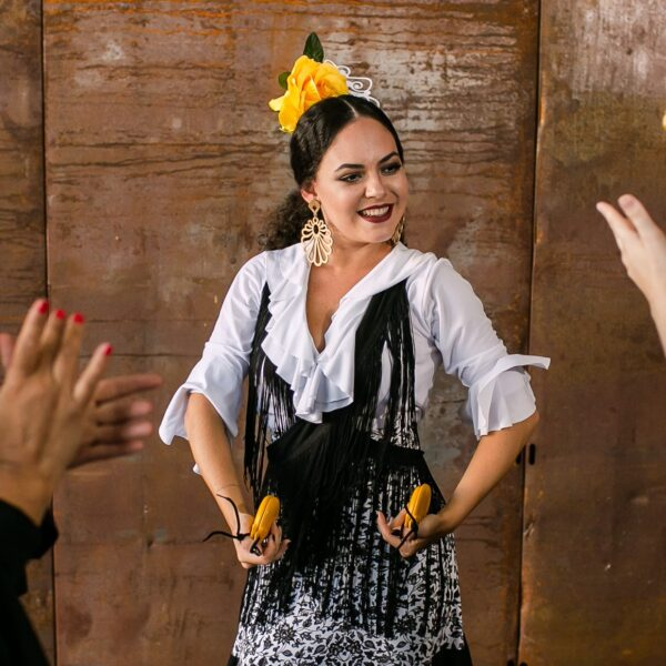 Blusa Flamenca Bromélia Manga 3/4 Babados Branca