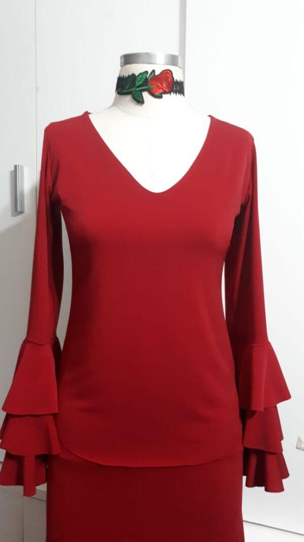 Blusa petúnia decote acentuado vermelha