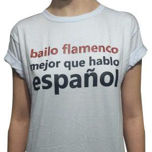 Camiseta Flamenca Bailo Flamenco Branca
