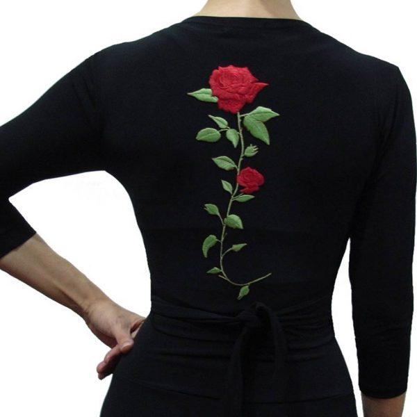 Casaco Flamenco Manguito Preto Flor Vermelha