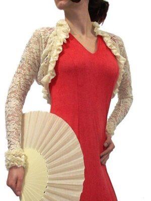 Casaco Bolero Flamenco Renda Marfim