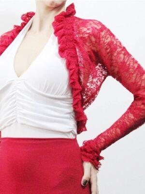 Casaco Bolero Flamenco Renda Vermelho