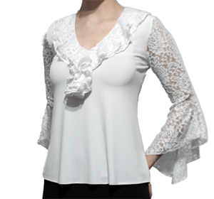 Blusa Flamenca Begônia Manga em Renda Evasé Branca