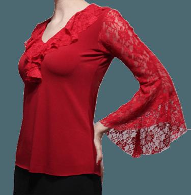 Blusa Flamenca Begônia Manga Evase em Renda Vermelha