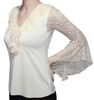 Blusa begônia marfim manga em renda evasé