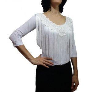 Blusa magnólia branca franjas guipure
