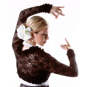 Casaco Bolero Flamenco Renda Preto