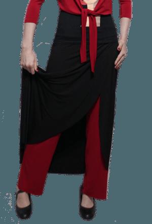 Calça papoula preta e vermelha