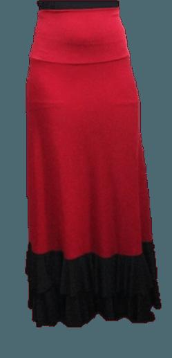 Saia Flamenca Jasmin Vermelha Babado Preto