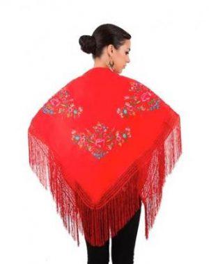 Xale espanhol triangular (pico) vermelho com flores coloridas 160x75cm