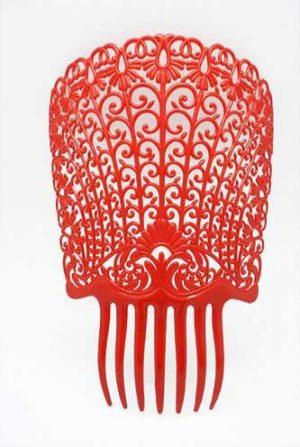 Peineta peina vermelha gigante 27x22cm