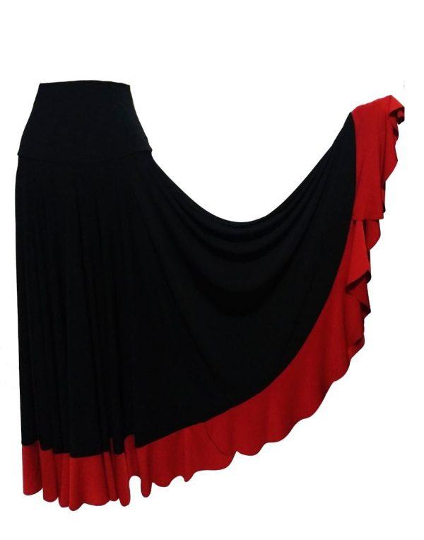 Saia Flamenca Hibisco Preta Babado Vermelho