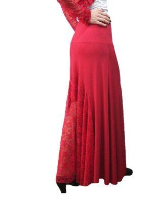 Saia Flamenca Alamanda Plus com Renda Vermelha