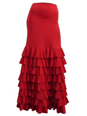 Saia Flamenca Bromélia 8 Babados Vermelha