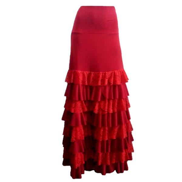 Saia Flamenca Bromélia Vermelha 8 Babados Renda