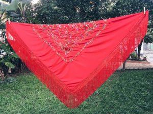 Mantón Ensaio Espanhol Quadrado Vermelho Com Bordados Dança Flamenca 1,50mx1,50m