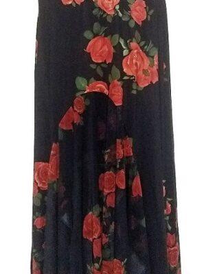 Saia Flamenca Alamanda Plus Estampa Rosas Vermelhas