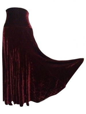 Saia Flamenca Alamanda Plus Veludo Bordô