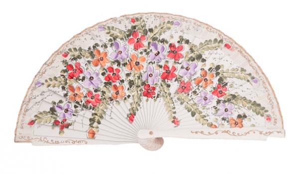 Leque abanico pequeno 16cm branco floral