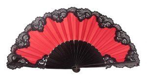 Leque abanico pericon vermelho renda preta 31cm
