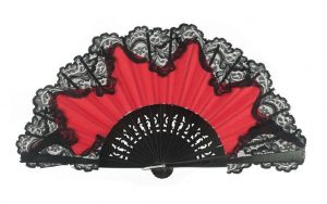 Leque abanico vermelho renda preta 23cm