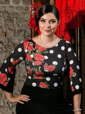 Blusa Flamenca Camélia Estampa Rosas Poá
