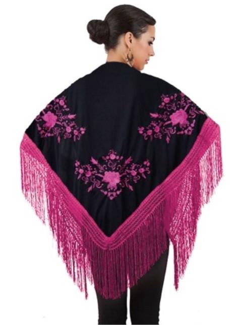 Xale espanhol triangular preto com flores e franja rosa pink 160x75cm
