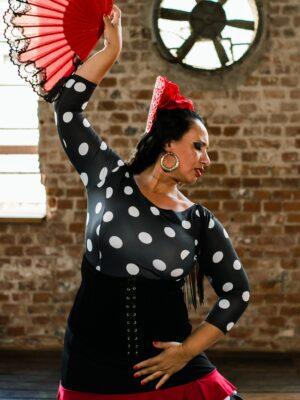 Blusa Flamenca Magnolia Decote Costas Franja Preta