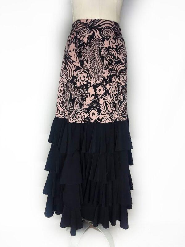 Saia gérbera jackard fundo preto e rosa babado preto