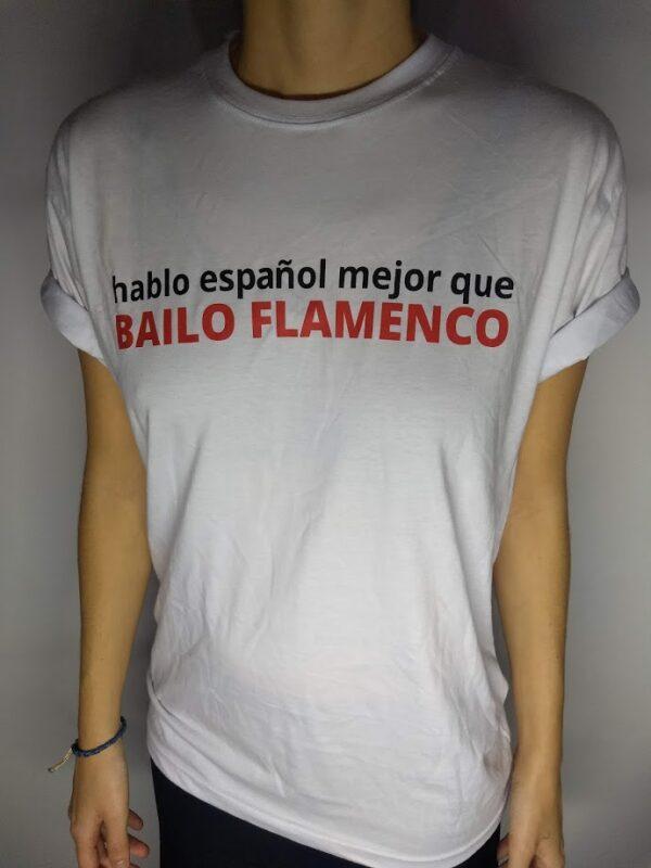 Camiseta branca hablo español