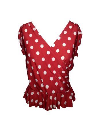 Blusa Flamenca Ana Vermelha Poá