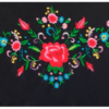 Xale espanhol triangular (pico) preto com bordado colorido 160x80cm