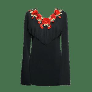 Túnica Flamenca Salamanca Rosas Preta