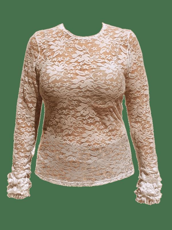 Blusa Flamenca Básica Renda Marfim