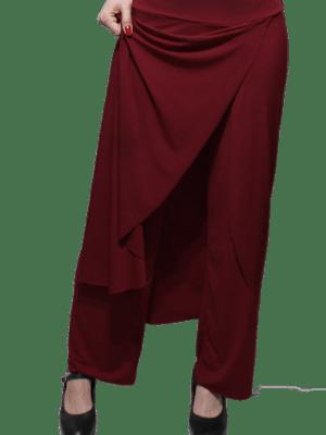 Calça Saia Flamenca Papoula Bordô